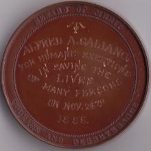 Bronze Medal Awarded to Alfred A. Galiano by the Massachusetts Humane Society fo