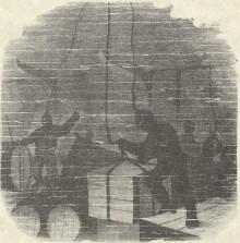 Engraving of divers, underwater, attaching ropes to crates and barrels